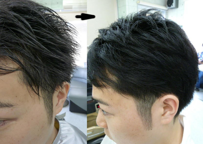 ツーブロックカットをすると、時々サイドの毛が立って生えているので、多分ドライヤーで押さえてもスプレーかジェルか堅めのワックスで押さえないと保持出来ない。汗をかくとやっぱり保持出来ないだろうと思う人がいます。そんな時日常的に楽にセットできるありがたいアイパー処理という方法があります。アイパー液を髪に塗布し、流し、乾かし、サイドの根元にアイロンを入れると、日常は乾かすだけでサーッと収まります。その施術にピッタリのお客様にアイロンを掛けさせて頂きました。
