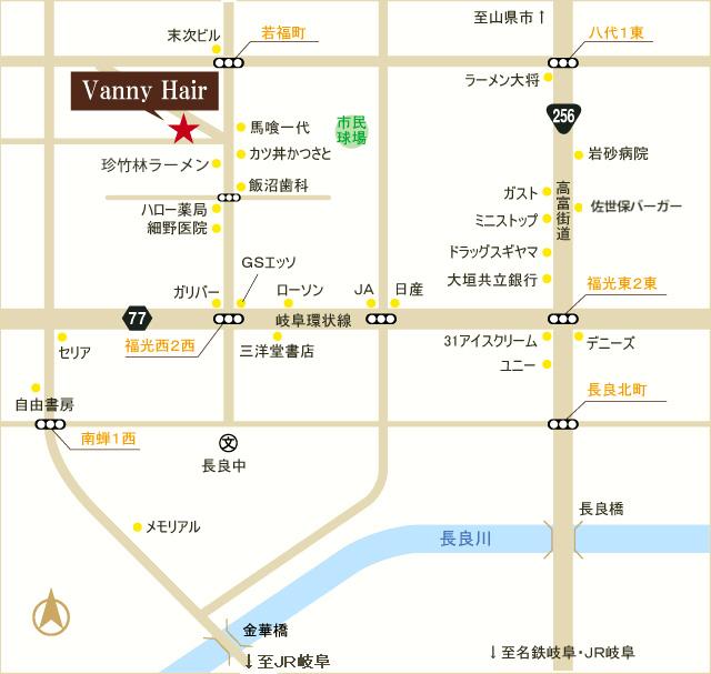 岐阜環状線、福光西2西交差点を北に500m。駐車場スペース有り。※広域地図はこちら(Google地図)